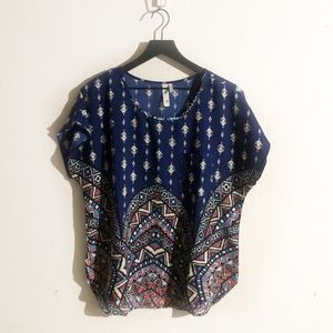 Blue pink owl blouse large